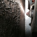 Volunteer Mold image of the interior of a furnace with mold growths on interior unit walls.