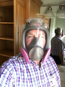 Photo of Bob Byrne wearing a full face respirator