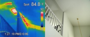 Thermal Imaging image indicates large temperate variation due to missing insulation.