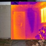 Infrared Thermal Imaging shows hidden water leak near exterior front door of home.