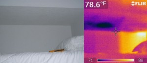 Thermal image of water leak over bed comparing visual vs thermal image.