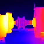 Infrared Thermal image of a over heating shaft bearing.