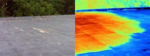 Image of roof leak and water trapped below using infrared thermal imaging vs/ standard visual view.